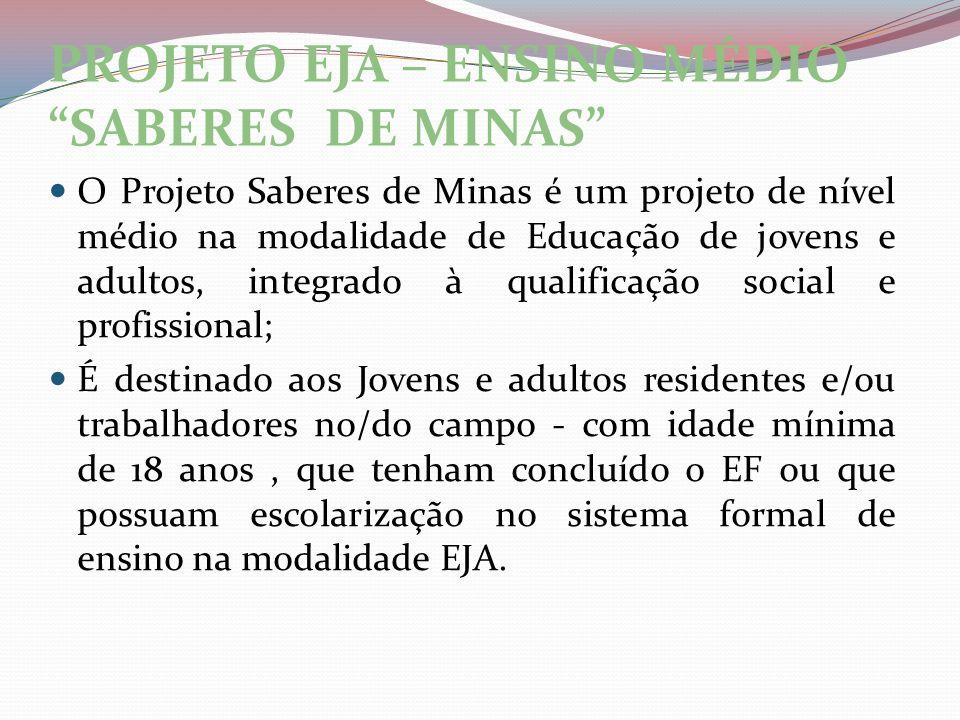 PROJETO EJA – ENSINO MÉDIO SABERES DE MINAS O Projeto Saberes de Minas é um projeto de nível médio na modalidade de Educação de jovens e adultos, inte