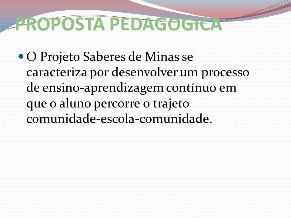 PROPOSTA PEDAGOGICA O Projeto Saberes de Minas se caracteriza por desenvolver um processo de ensino-aprendizagem contínuo em que o aluno percorre o tr