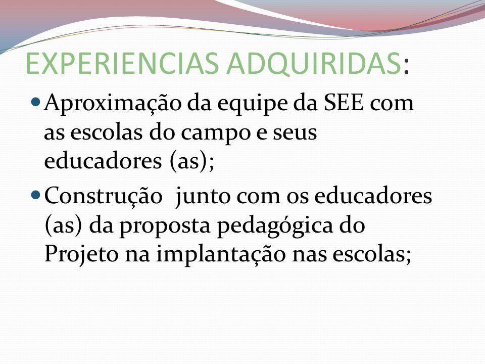 EXPERIENCIAS ADQUIRIDAS: Aproximação da equipe da SEE com as escolas do campo e seus educadores (as); Construção junto com os educadores (as) da propo
