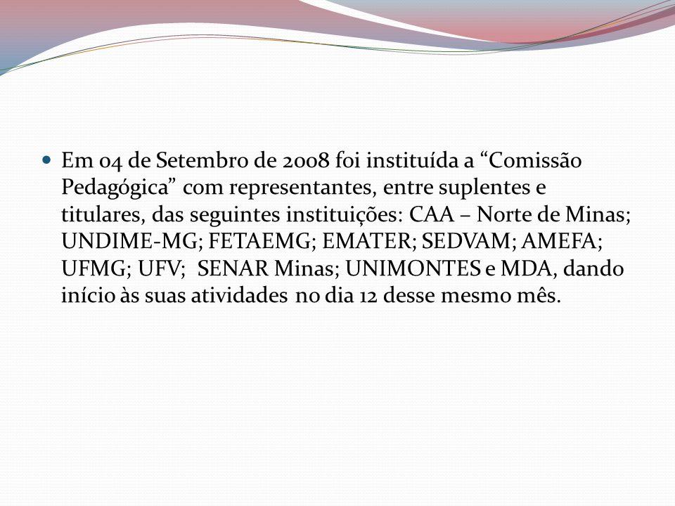 Em 04 de Setembro de 2008 foi instituída a Comissão Pedagógica com representantes, entre suplentes e titulares, das seguintes instituições: CAA – Nort