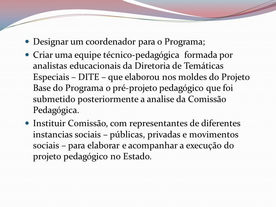 Designar um coordenador para o Programa; Criar uma equipe técnico-pedagógica formada por analistas educacionais da Diretoria de Temáticas Especiais –