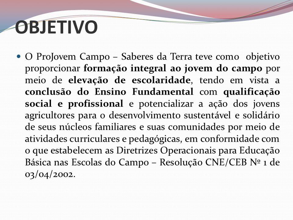 OBJETIVO O ProJovem Campo – Saberes da Terra teve como objetivo proporcionar formação integral ao jovem do campo por meio de elevação de escolaridade,