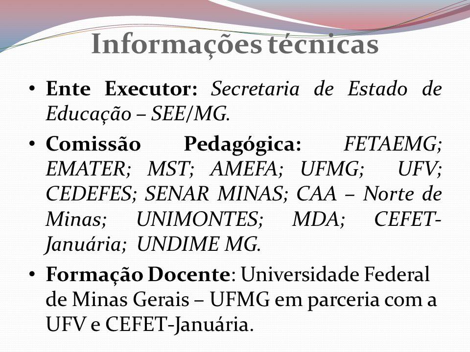 Informações técnicas Ente Executor: Secretaria de Estado de Educação – SEE/MG. Comissão Pedagógica: FETAEMG; EMATER; MST; AMEFA; UFMG; UFV; CEDEFES; S