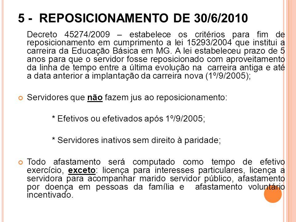 5 - REPOSICIONAMENTO DE 30/6/2010 Decreto 45274/2009 – estabelece os critérios para fim de reposicionamento em cumprimento a lei 15293/2004 que instit