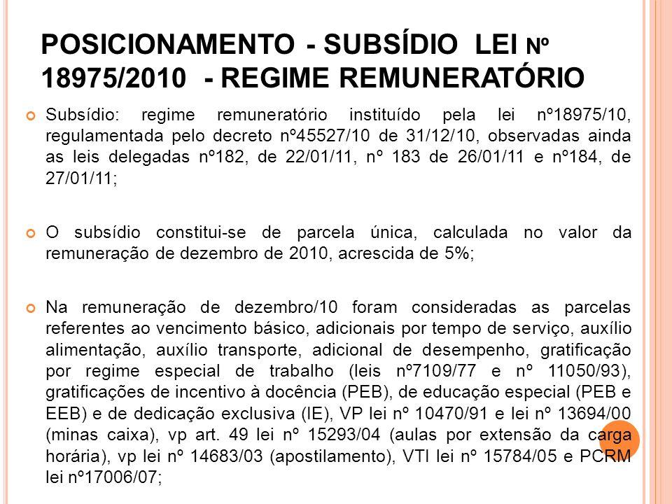 POSICIONAMENTO - SUBSÍDIO LEI Nº 18975/2010 - REGIME REMUNERATÓRIO Subsídio: regime remuneratório instituído pela lei nº18975/10, regulamentada pelo d