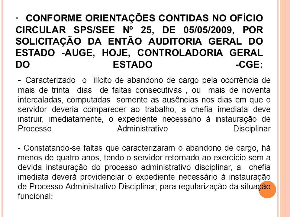 CONFORME ORIENTAÇÕES CONTIDAS NO OFÍCIO CIRCULAR SPS/SEE Nº 25, DE 05/05/2009, POR SOLICITAÇÃO DA ENTÃO AUDITORIA GERAL DO ESTADO -AUGE, HOJE, CONTROL