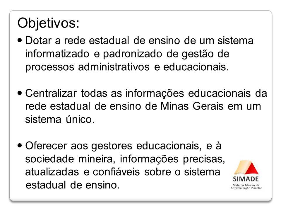 Dotar a rede estadual de ensino de um sistema informatizado e padronizado de gestão de processos administrativos e educacionais. Centralizar todas as