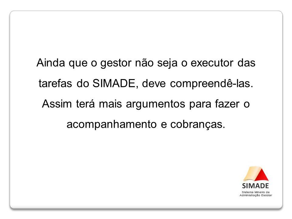 Ainda que o gestor não seja o executor das tarefas do SIMADE, deve compreendê-las. Assim terá mais argumentos para fazer o acompanhamento e cobranças.