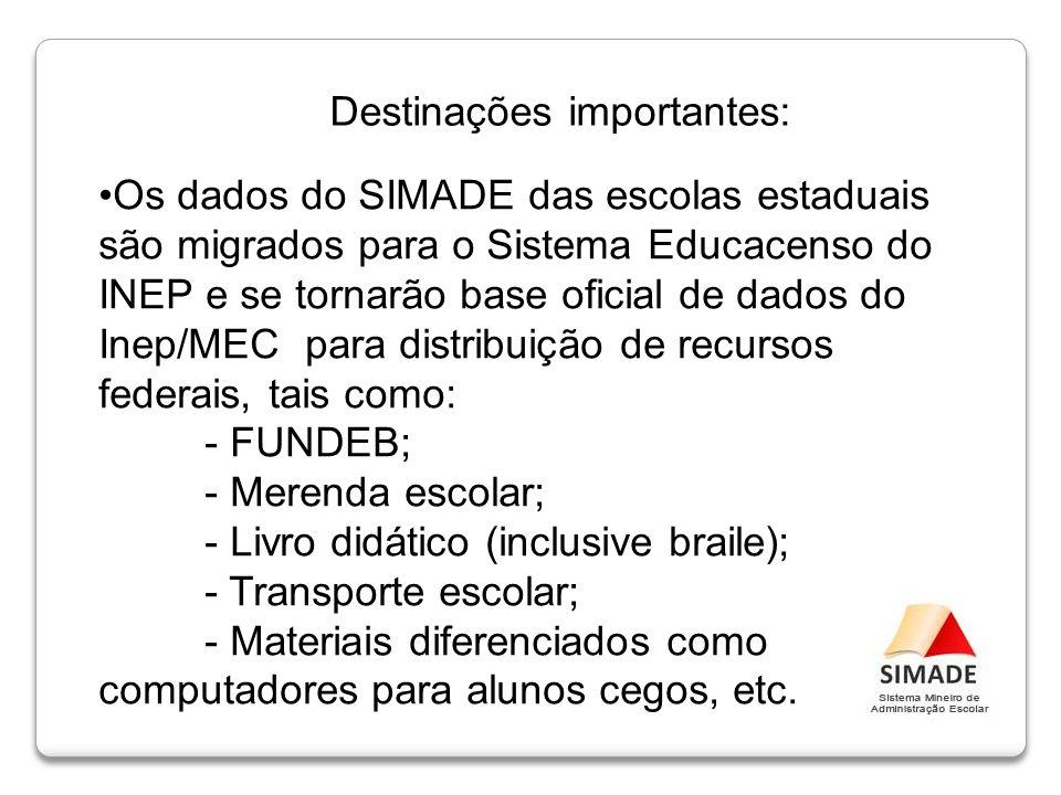 Os dados do SIMADE das escolas estaduais são migrados para o Sistema Educacenso do INEP e se tornarão base oficial de dados do Inep/MEC para distribui