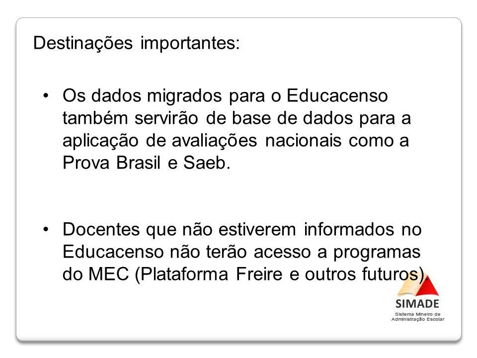 Os dados migrados para o Educacenso também servirão de base de dados para a aplicação de avaliações nacionais como a Prova Brasil e Saeb. Docentes que