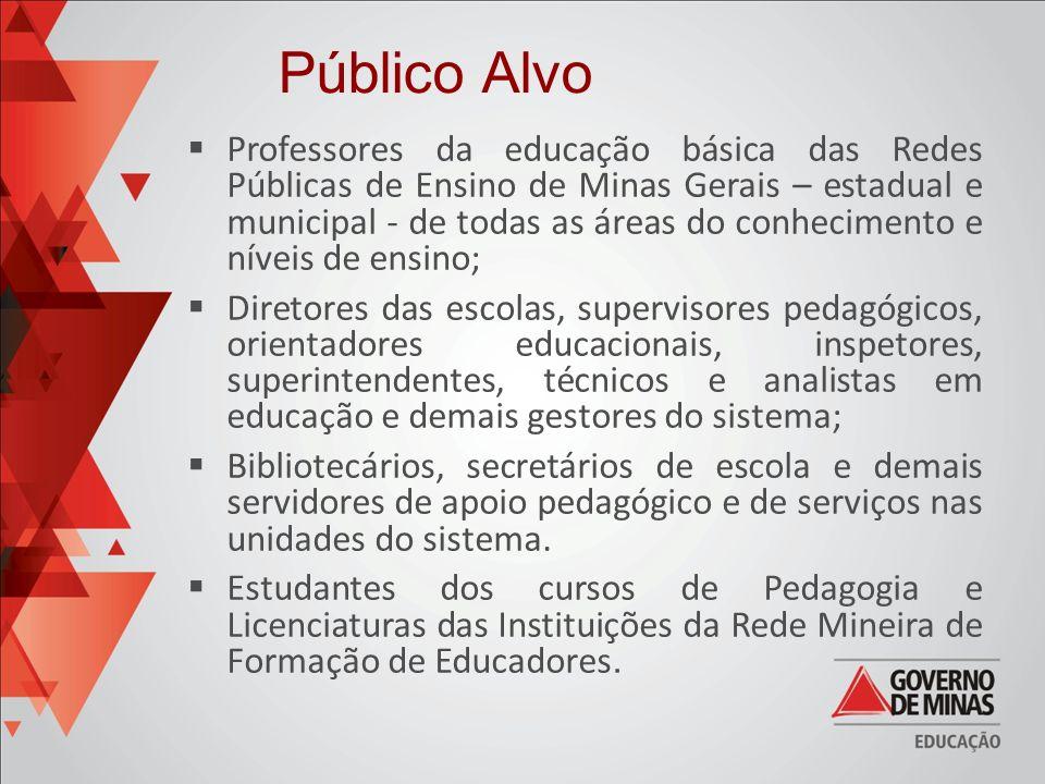 Professores da educação básica das Redes Públicas de Ensino de Minas Gerais – estadual e municipal - de todas as áreas do conhecimento e níveis de ens