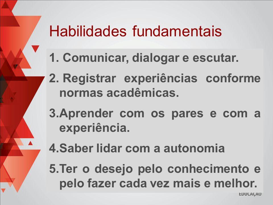 1. Comunicar, dialogar e escutar. 2. Registrar experiências conforme normas acadêmicas. 3.Aprender com os pares e com a experiência. 4.Saber lidar com