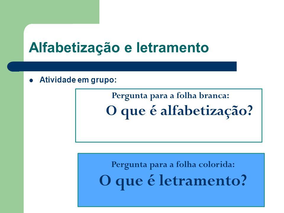 Alfabetização e letramento Atividade em grupo: Pergunta para a folha branca: O que é alfabetização? Pergunta para a folha colorida: O que é letramento