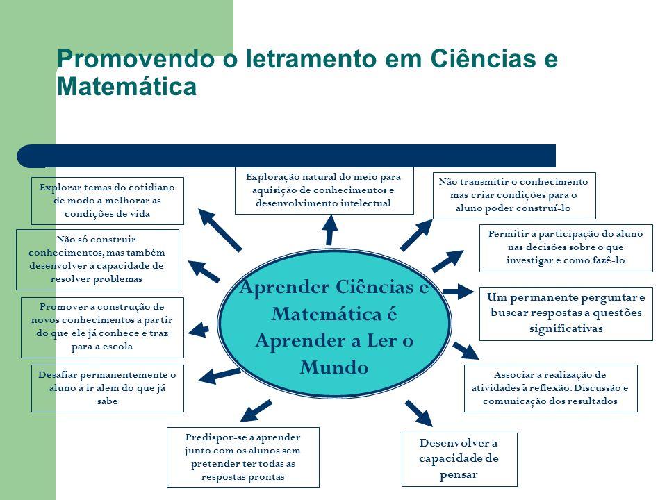 Promovendo o letramento em Ciências e Matemática Exploração natural do meio para aquisição de conhecimentos e desenvolvimento intelectual Explorar tem