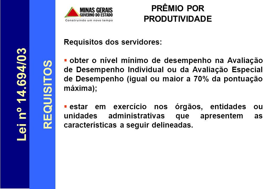 Lei nº 14.694/03 REQUISITOS PRÊMIO POR PRODUTIVIDADE Requisitos dos servidores: obter o nível mínimo de desempenho na Avaliação de Desempenho Individu