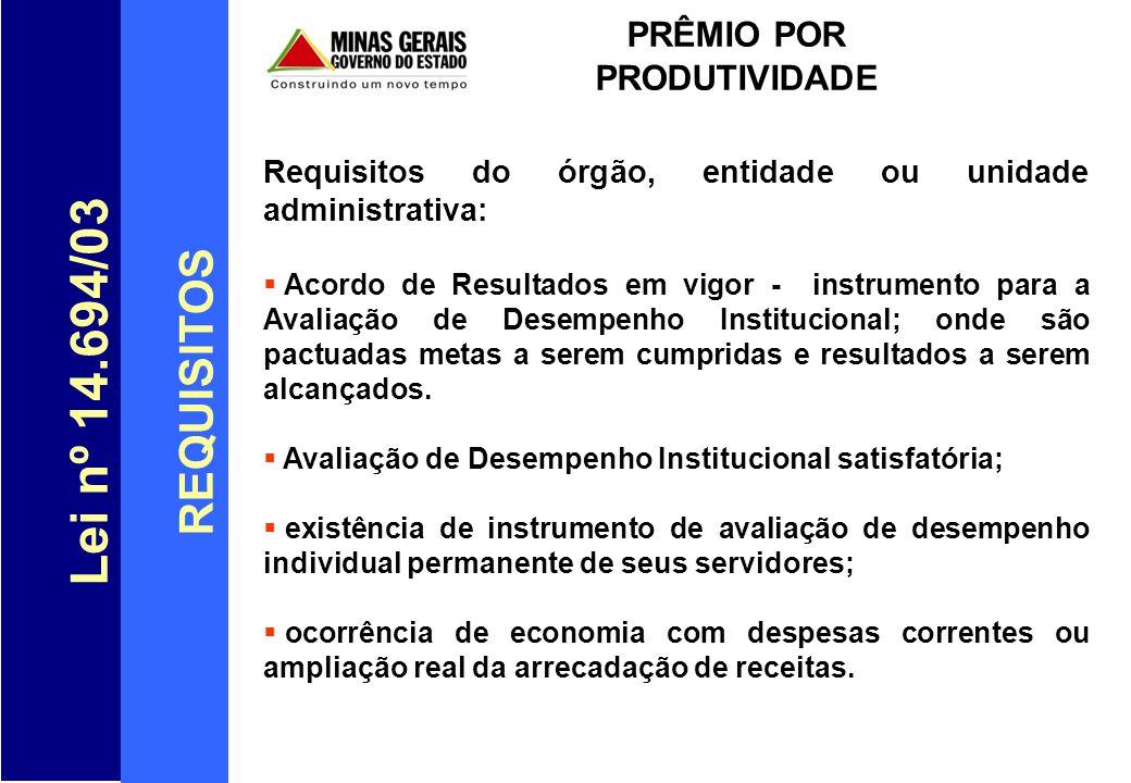 Lei nº 14.694/03 FONTES DE CUSTEIO PRÊMIO POR PRODUTIVIDADE Arts.29 e 32-A da Lei n.º 14.694/2003: Economia com Despesas Correntes.