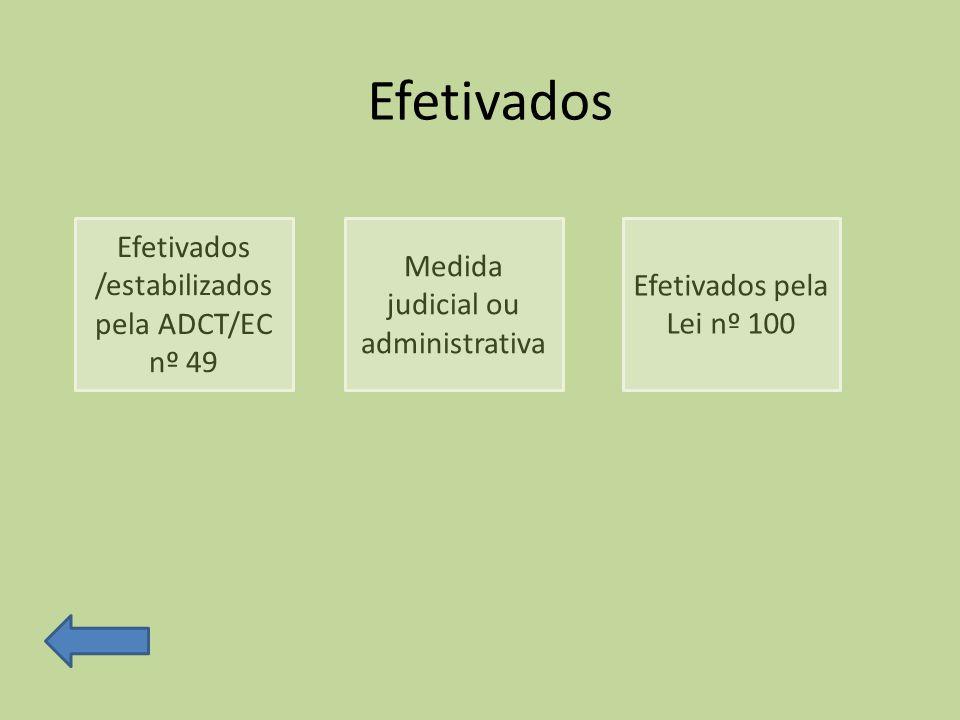Efetivados Efetivados /estabilizados pela ADCT/EC nº 49 Medida judicial ou administrativa Efetivados pela Lei nº 100