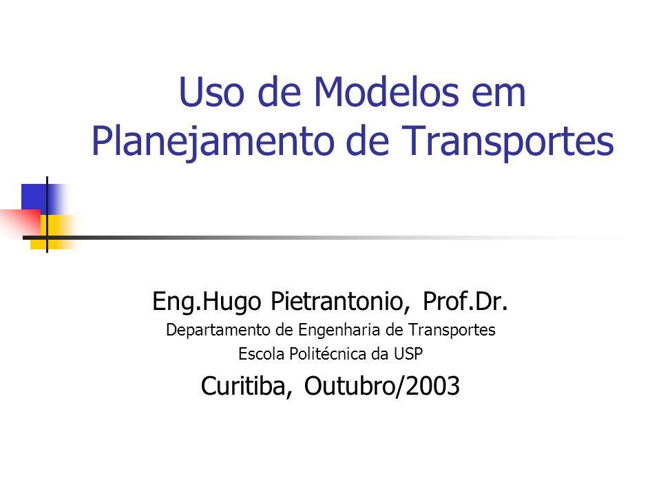 Uso de Modelos em Planejamento de Transportes Eng.Hugo Pietrantonio, Prof.Dr. Departamento de Engenharia de Transportes Escola Politécnica da USP Curi
