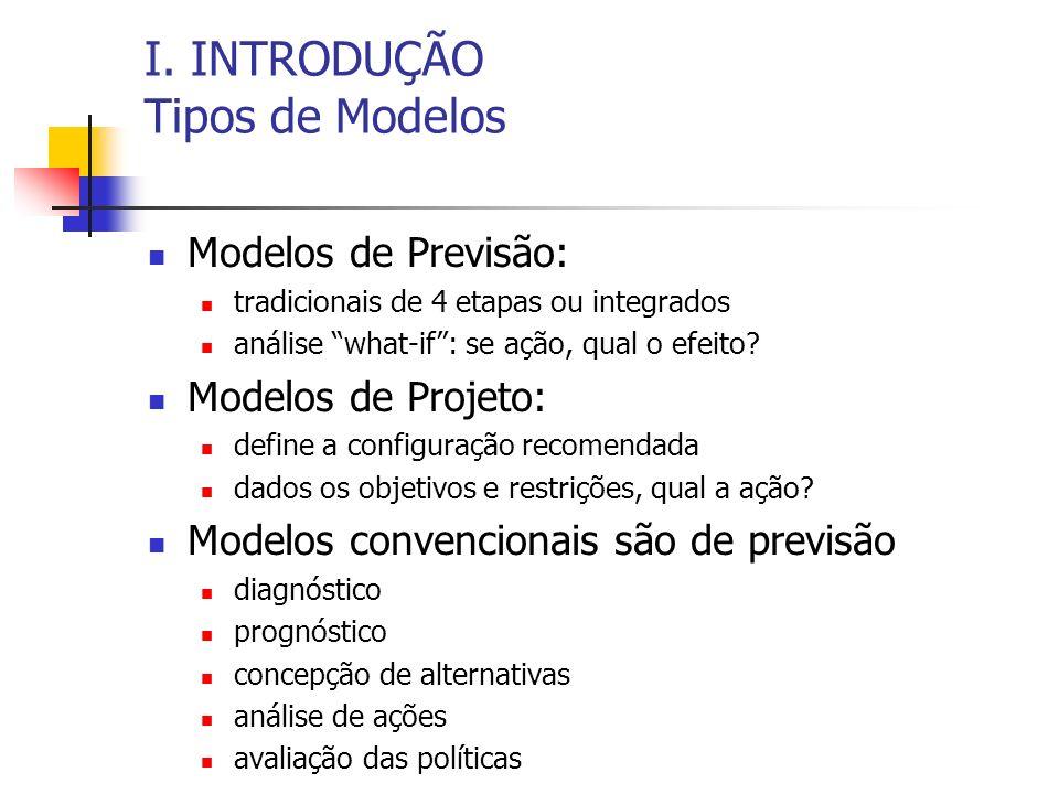 I. INTRODUÇÃO Tipos de Modelos Modelos de Previsão: tradicionais de 4 etapas ou integrados análise what-if: se ação, qual o efeito? Modelos de Projeto