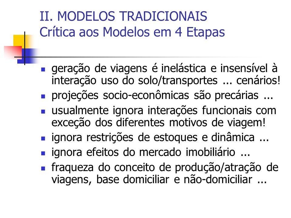 II. MODELOS TRADICIONAIS Crítica aos Modelos em 4 Etapas geração de viagens é inelástica e insensível à interação uso do solo/transportes... cenários!