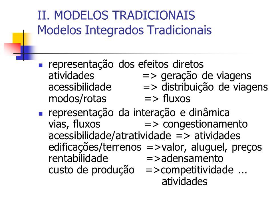 II. MODELOS TRADICIONAIS Modelos Integrados Tradicionais representação dos efeitos diretos atividades => geração de viagens acessibilidade => distribu