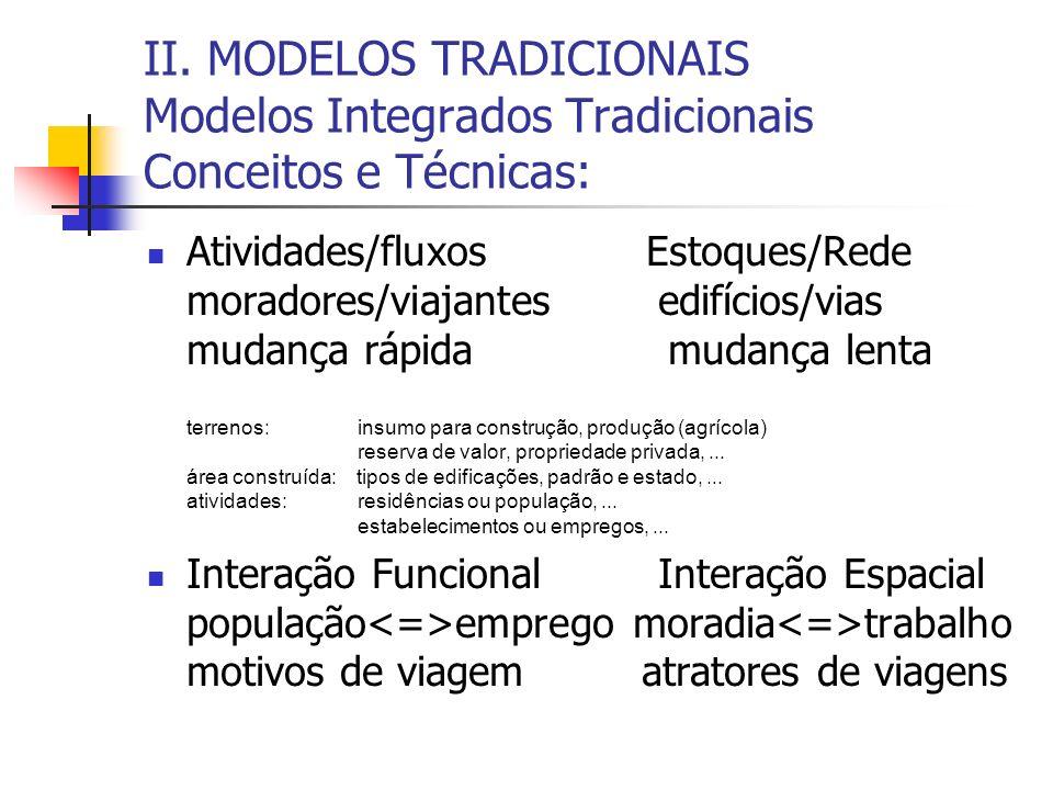 II. MODELOS TRADICIONAIS Modelos Integrados Tradicionais Conceitos e Técnicas: Atividades/fluxos Estoques/Rede moradores/viajantes edifícios/vias muda