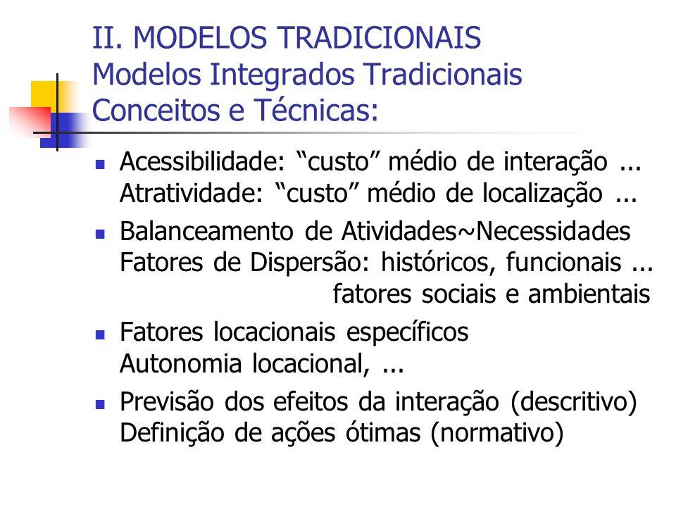 II. MODELOS TRADICIONAIS Modelos Integrados Tradicionais Conceitos e Técnicas: Acessibilidade:custo médio de interação... Atratividade: custo médio de