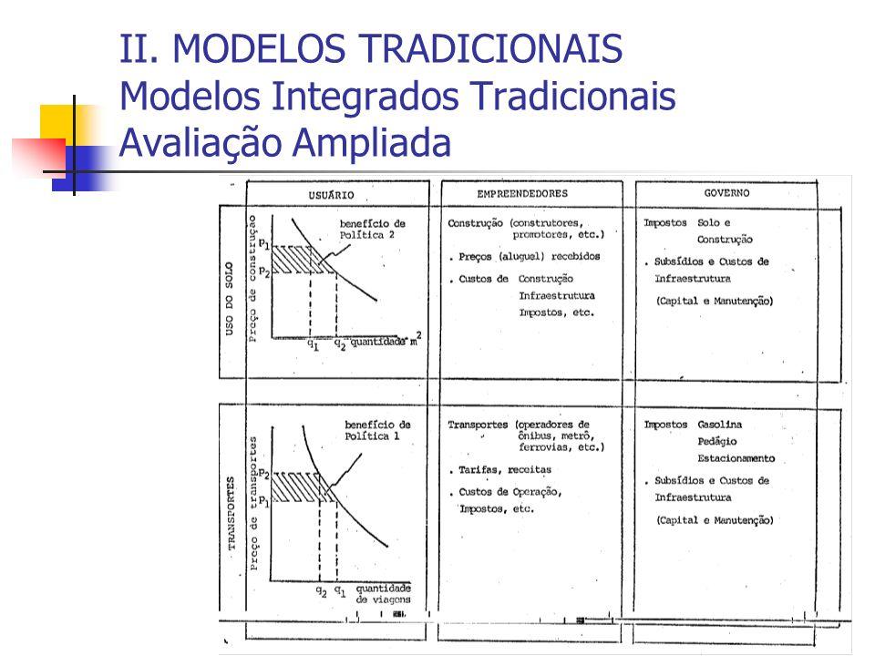 II. MODELOS TRADICIONAIS Modelos Integrados Tradicionais Avaliação Ampliada