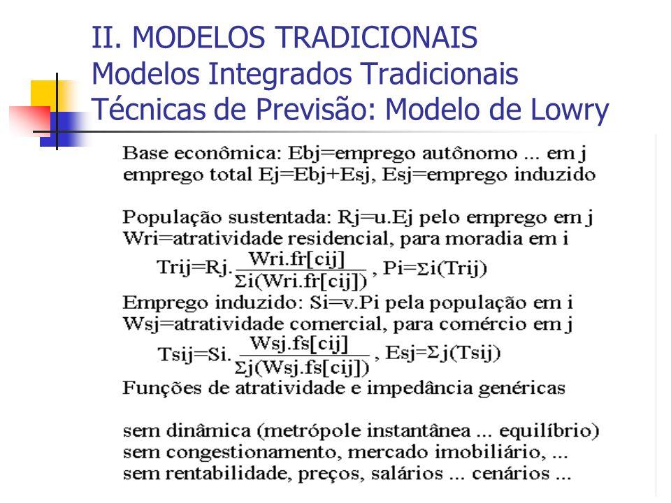 II. MODELOS TRADICIONAIS Modelos Integrados Tradicionais Técnicas de Previsão: Modelo de Lowry