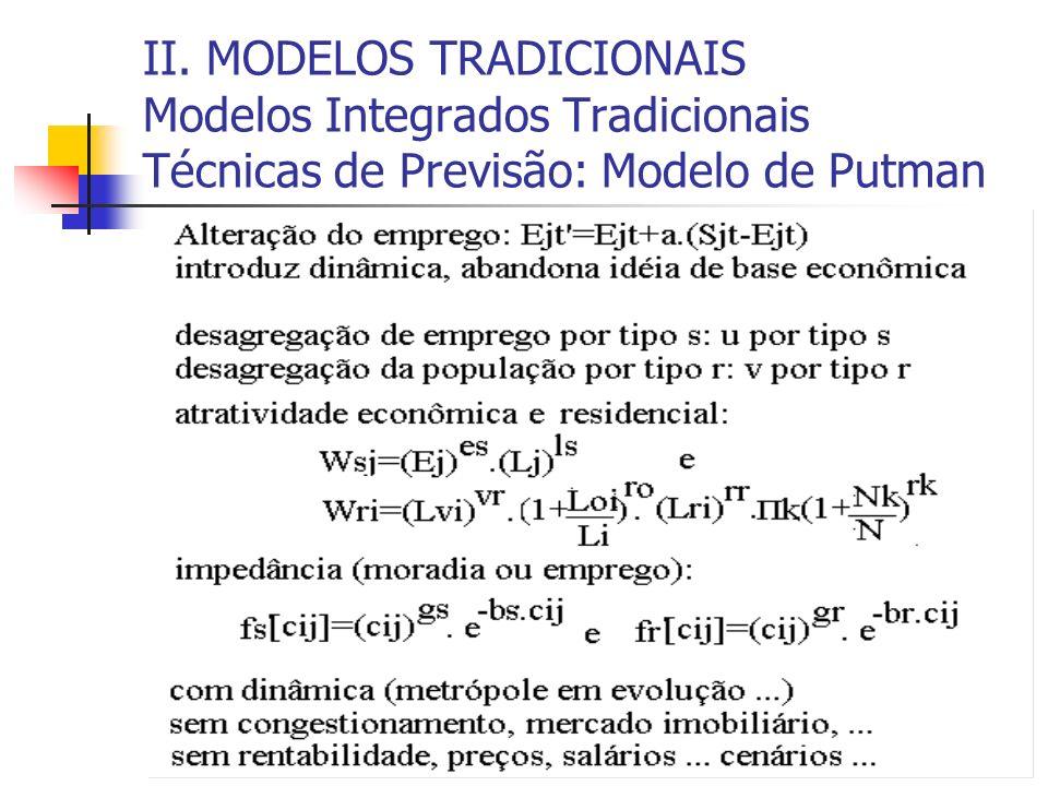 II. MODELOS TRADICIONAIS Modelos Integrados Tradicionais Técnicas de Previsão: Modelo de Putman