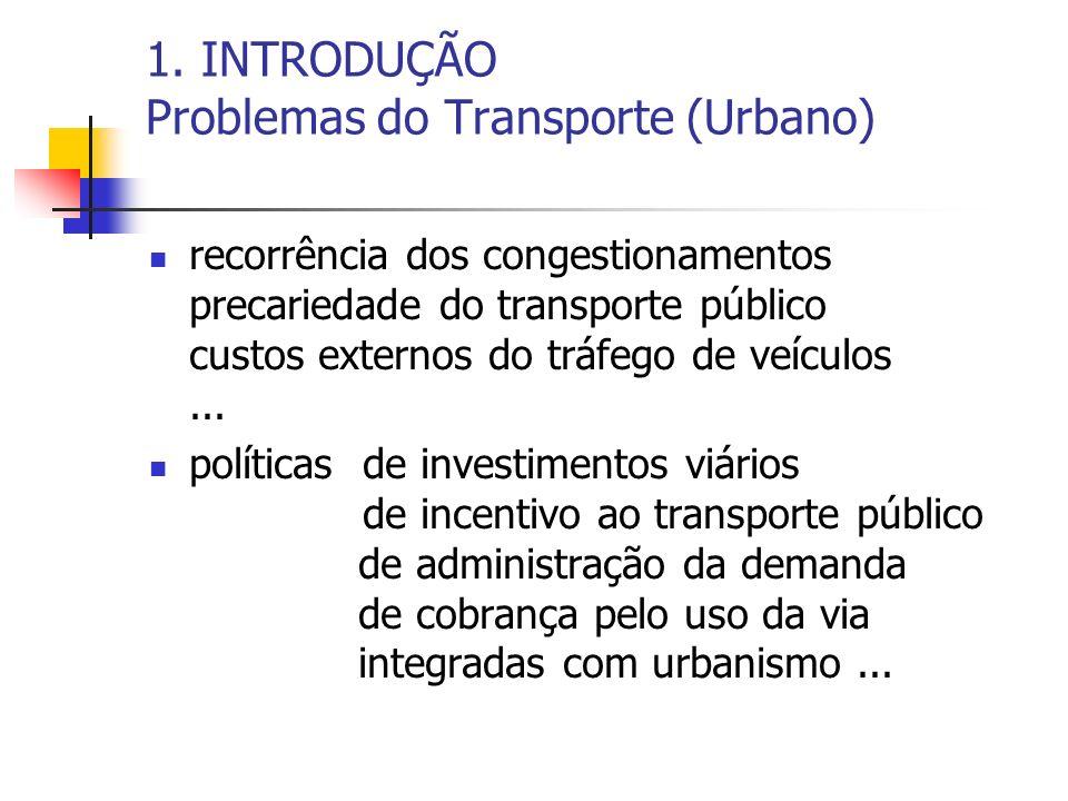 1. INTRODUÇÃO Problemas do Transporte (Urbano) recorrência dos congestionamentos precariedade do transporte público custos externos do tráfego de veíc