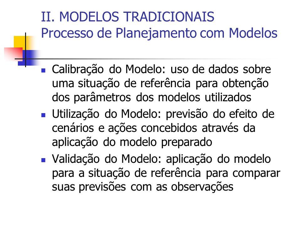 II. MODELOS TRADICIONAIS Processo de Planejamento com Modelos Calibração do Modelo: uso de dados sobre uma situação de referência para obtenção dos pa