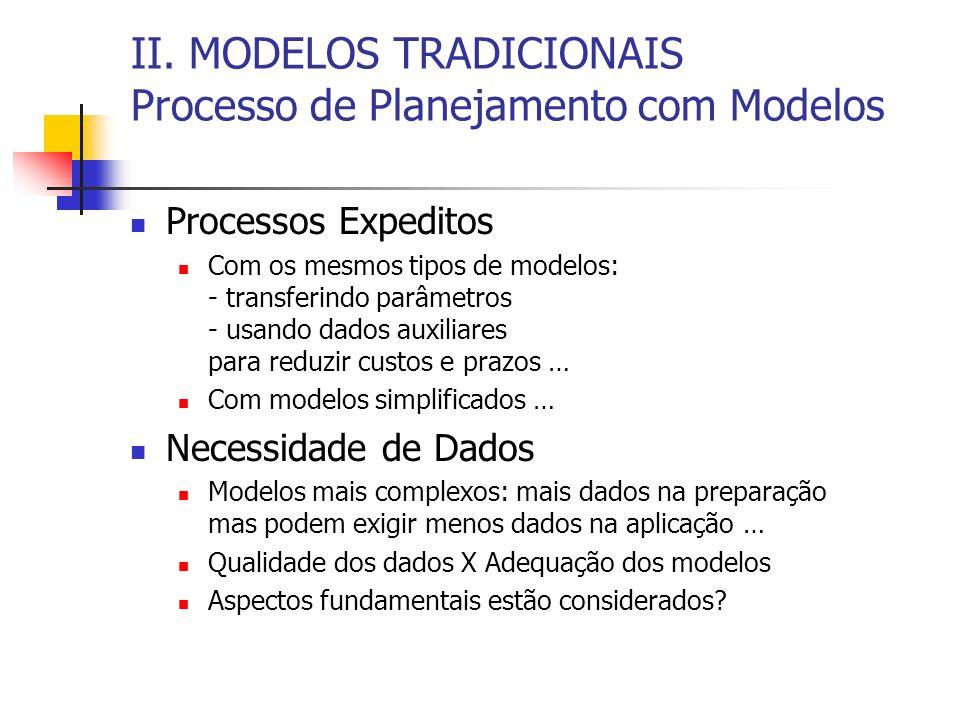 II. MODELOS TRADICIONAIS Processo de Planejamento com Modelos Processos Expeditos Com os mesmos tipos de modelos: - transferindo parâmetros - usando d