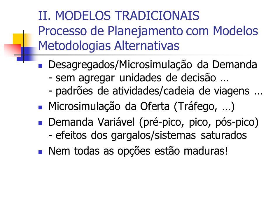 II. MODELOS TRADICIONAIS Processo de Planejamento com Modelos Metodologias Alternativas Desagregados/Microsimulação da Demanda - sem agregar unidades