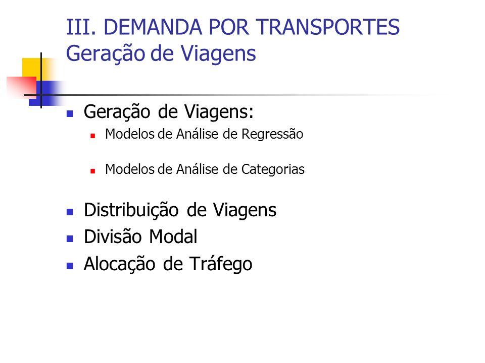 III. DEMANDA POR TRANSPORTES Geração de Viagens Geração de Viagens: Modelos de Análise de Regressão Modelos de Análise de Categorias Distribuição de V
