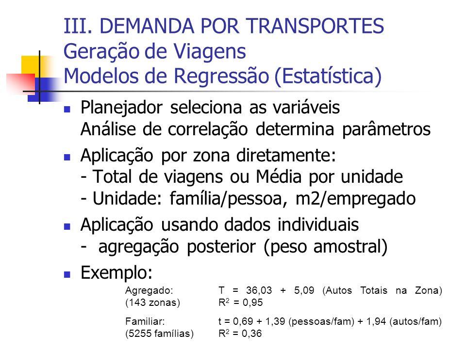 III. DEMANDA POR TRANSPORTES Geração de Viagens Modelos de Regressão (Estatística) Planejador seleciona as variáveis Análise de correlação determina p