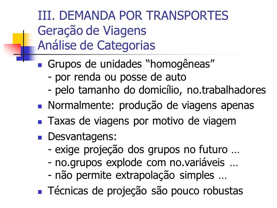 III. DEMANDA POR TRANSPORTES Geração de Viagens Análise de Categorias Grupos de unidades homogêneas - por renda ou posse de auto - pelo tamanho do dom