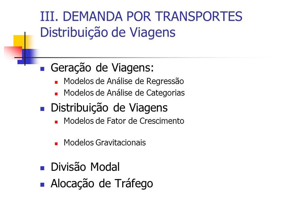 III. DEMANDA POR TRANSPORTES Distribuição de Viagens Geração de Viagens: Modelos de Análise de Regressão Modelos de Análise de Categorias Distribuição