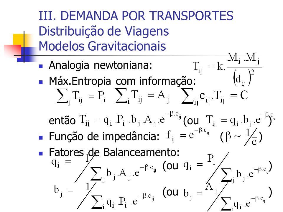 III. DEMANDA POR TRANSPORTES Distribuição de Viagens Modelos Gravitacionais Analogia newtoniana: Máx.Entropia com informação: então (ou ) Função de im
