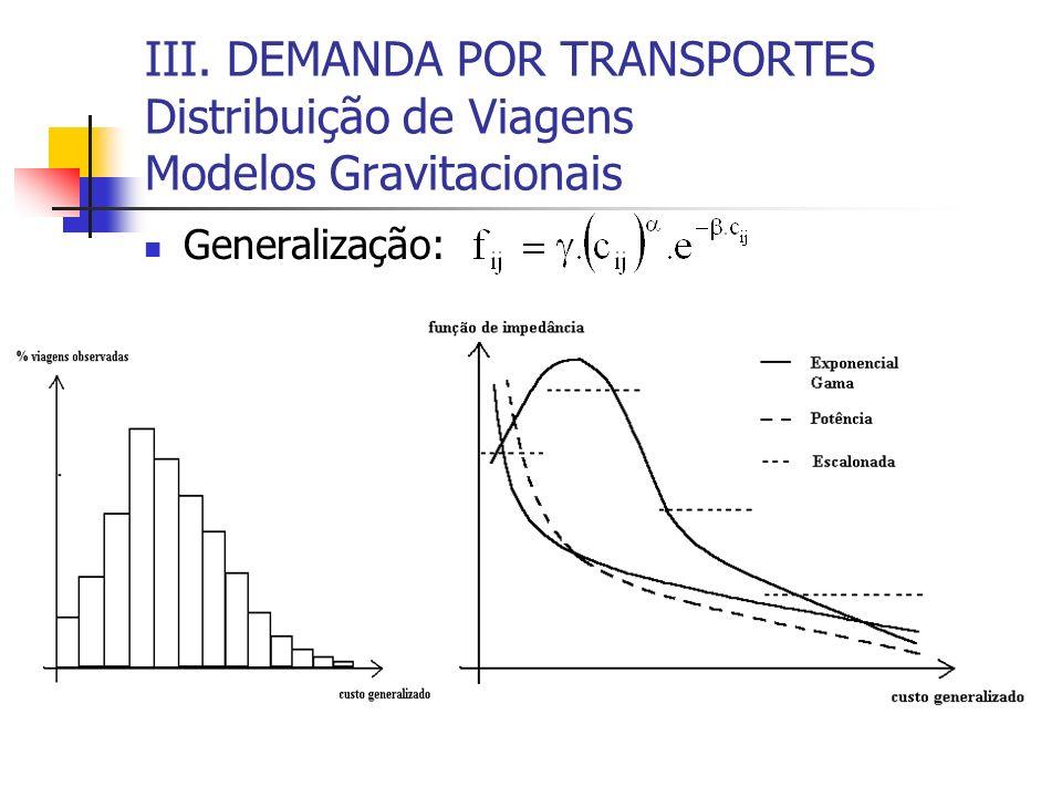 III. DEMANDA POR TRANSPORTES Distribuição de Viagens Modelos Gravitacionais Generalização:
