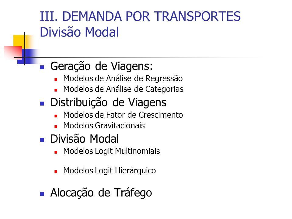 III. DEMANDA POR TRANSPORTES Divisão Modal Geração de Viagens: Modelos de Análise de Regressão Modelos de Análise de Categorias Distribuição de Viagen
