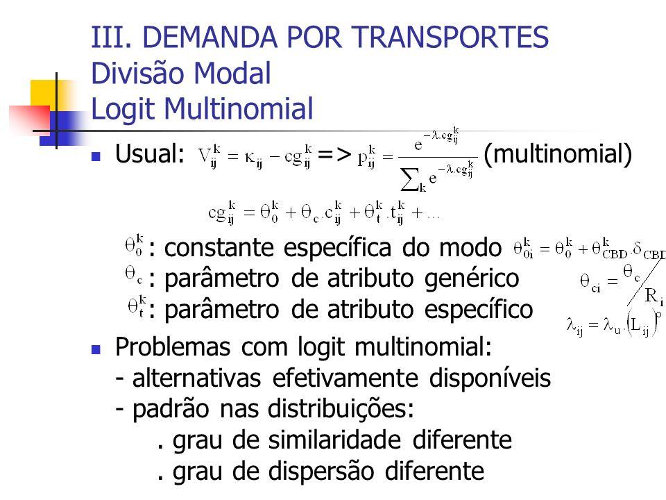 III. DEMANDA POR TRANSPORTES Divisão Modal Logit Multinomial Usual: => (multinomial) : constante específica do modo : parâmetro de atributo genérico :