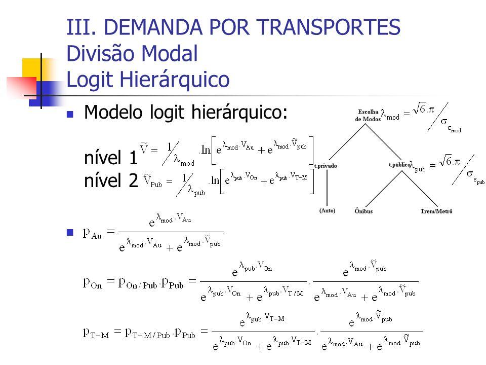 III. DEMANDA POR TRANSPORTES Divisão Modal Logit Hierárquico Modelo logit hierárquico: nível 1 nível 2