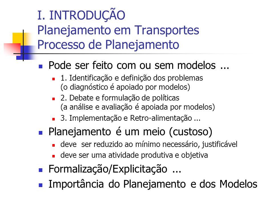 I. INTRODUÇÃO Planejamento em Transportes Processo de Planejamento Pode ser feito com ou sem modelos... 1. Identificação e definição dos problemas (o