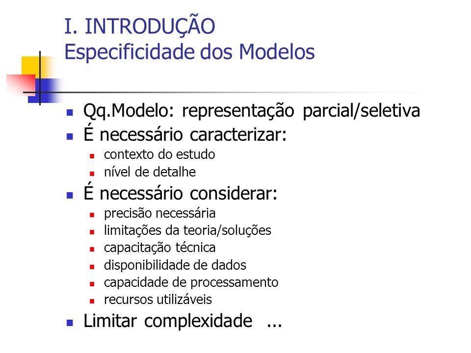 I. INTRODUÇÃO Especificidade dos Modelos Qq.Modelo: representação parcial/seletiva É necessário caracterizar: contexto do estudo nível de detalhe É ne