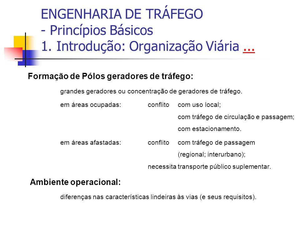ENGENHARIA DE TRÁFEGO - Princípios Básicos 1. Introdução: Organização Viária...... Formação de Pólos geradores de tráfego: grandes geradores ou concen