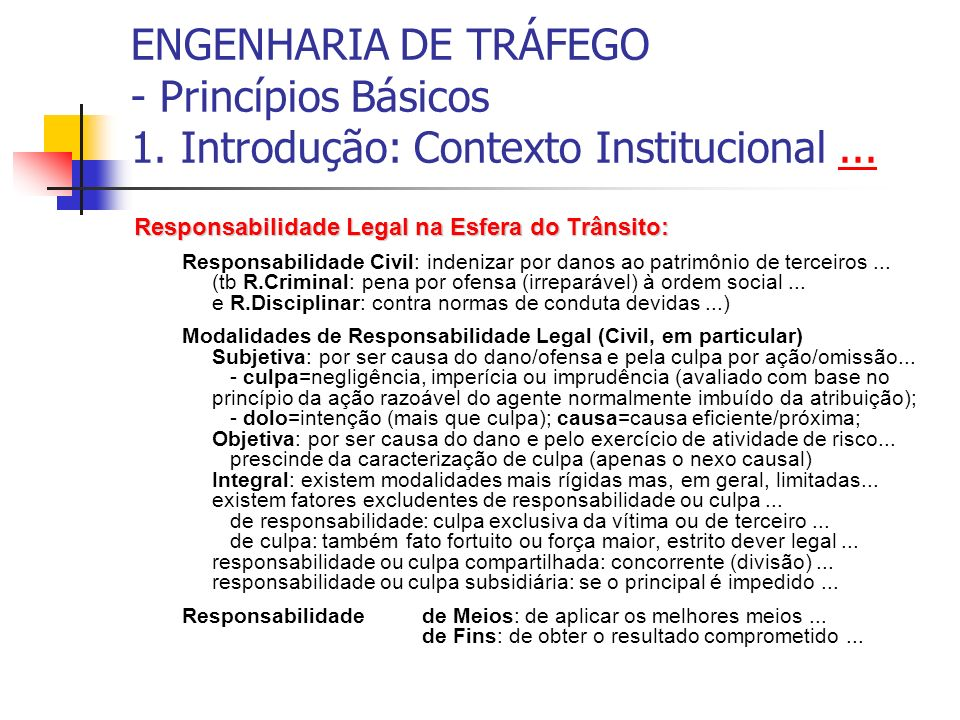 ENGENHARIA DE TRÁFEGO - Princípios Básicos 1. Introdução: Contexto Institucional...... Responsabilidade Legal na Esfera do Trânsito: Responsabilidade