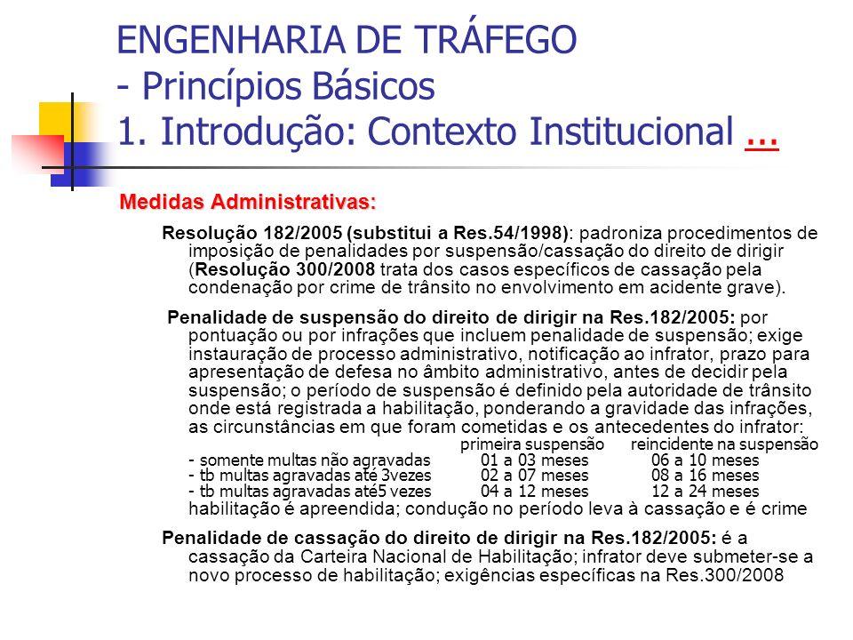 ENGENHARIA DE TRÁFEGO - Princípios Básicos 1. Introdução: Contexto Institucional...... Medidas Administrativas: Resolução 182/2005 (substitui a Res.54