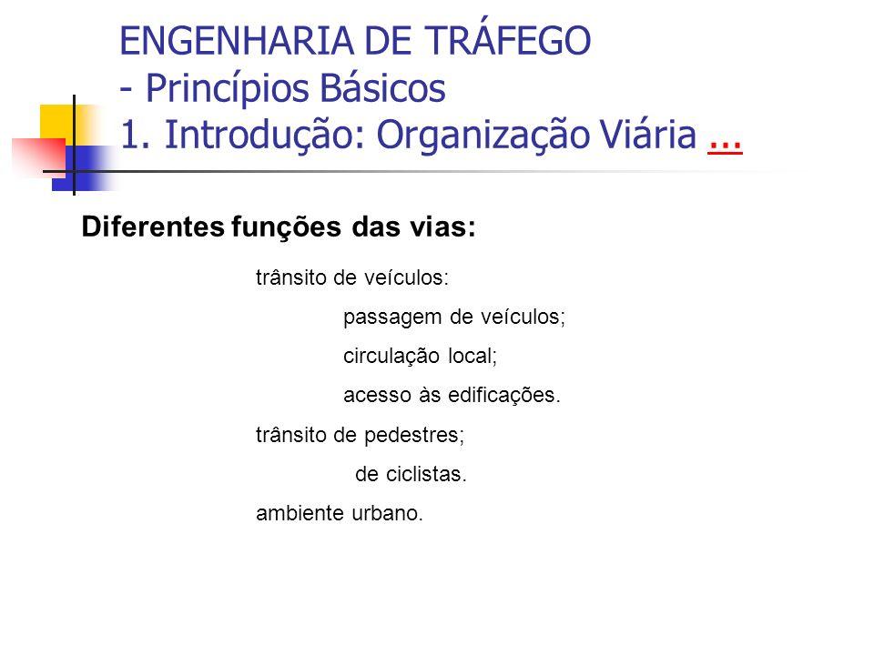 ENGENHARIA DE TRÁFEGO - Princípios Básicos 1. Introdução: Organização Viária...... Diferentes funções das vias: trânsito de veículos: passagem de veíc