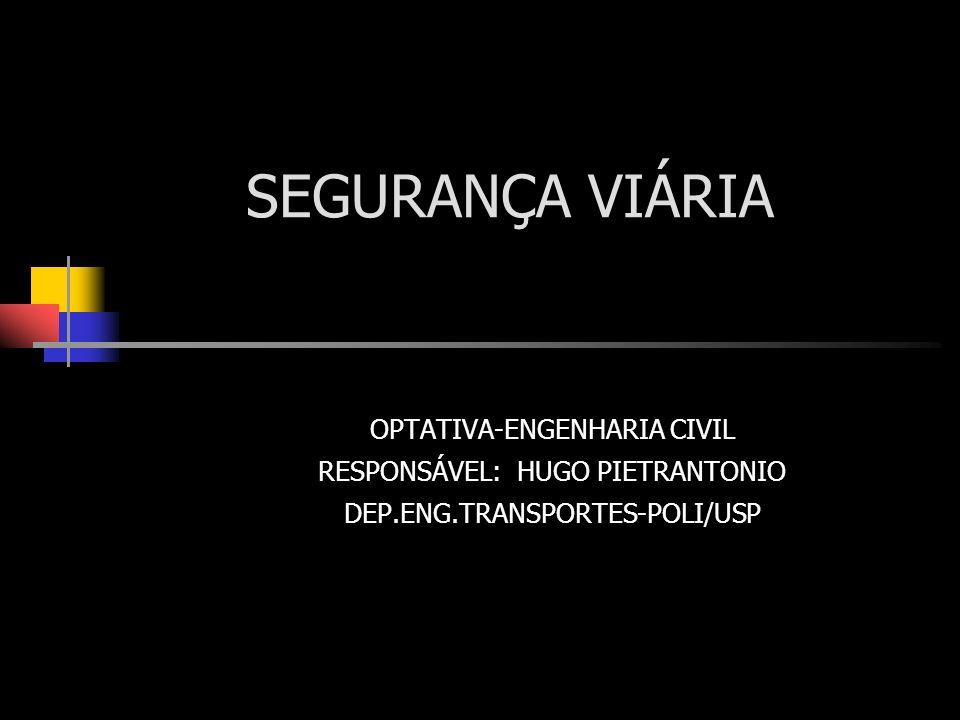 FATORES CONTRIBUINTES PARA A (IN)SEGURANÇA NO TRÂNSITO-8 SEGURANÇA TEM DE SER ESTENDIDA ÀS SITUAÇÕES EXTREMAS (COM SUAS DIFERENTES CAUSAS…) COPORTAMENTO HUMANO REAL: - IDEAL … E IMPROVÁVEL … - NORMAL FALHAS, ERROS, DEFICIÊNCIAS VIOLAÇÕES INTENCIONAIS - ABERRANTE NEGLIGÊNCIA, IRRESPONSABILIDADE AGRESSÃO SOCIAL COMPORTAMENO ABERRANTE TEM IMPORTÂNCIA MAIOR NOS ACIDENTES MAIS GRAVES… EXEMPO: ÁLCOOL / DROGAS40% DOS AC.FATAIS (EUA,1998) 7% DOS AC.VÍTMAS AÇÃO SOBRE COMPORTAMENTO ABERRANTE PODE SER SENSÍVEL À FATORES ESPECÍFICOS, DISTINTOS DOS QUE AFETAM O COMPORTAMENTO NORMAL … CONDIÇÕES AMBIENTAIS, VIÁRIAS E VEICULARES TAMBÉM GERAM SITUAÇÕES EXTREMAS (EXEMPLO: NEBLINA ESPESSA) ONDE A SEGURANÇA NORMAL É INSATISFATÓRIA … OUTRO ASPECTO: GRUPOS ESPECÍFICOS DE USUÁRIOS PODEM TRAZER NECESSIDADES, SE NÃO EXTREMAS, ESPECIAIS (EXEMPLO: IDOSOS, CRIANÇAS)…